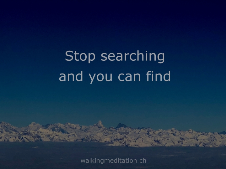 Meditation means: stopsearching